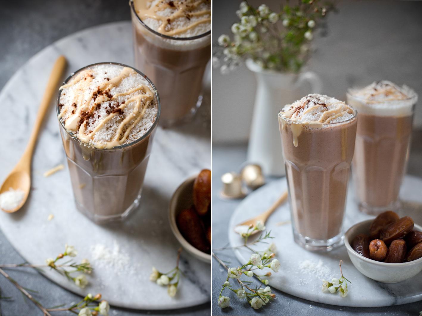 Kaffee Smoothie mit Banane, Datteln und Kokosflocken
