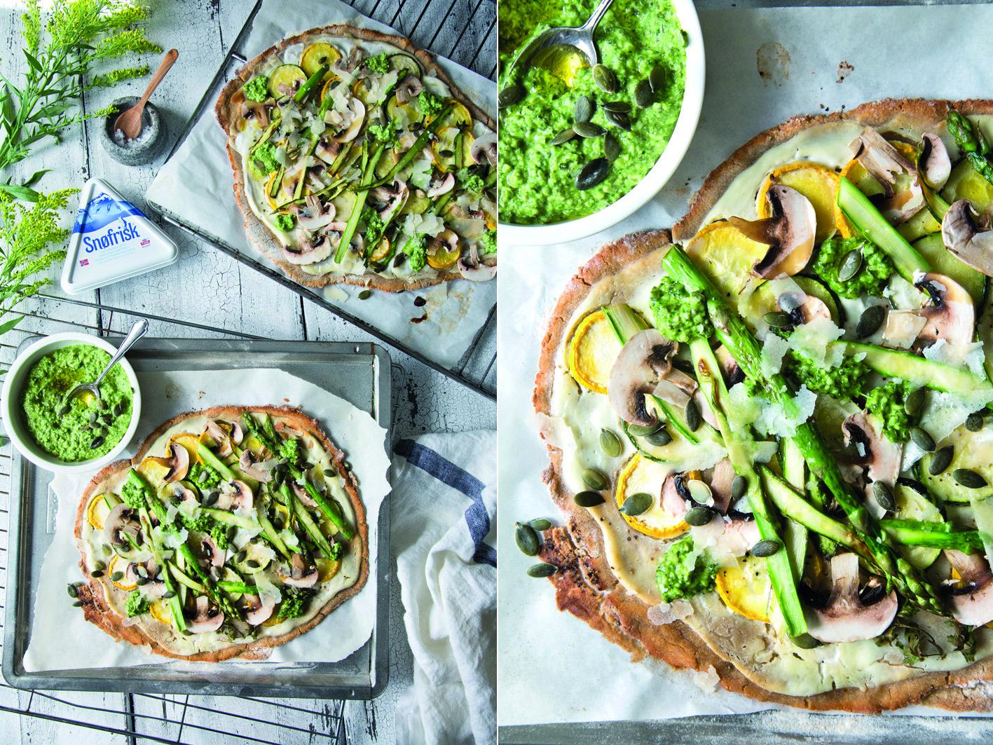 Gemüse-Flammkuchen mit Zucchini und Spargel