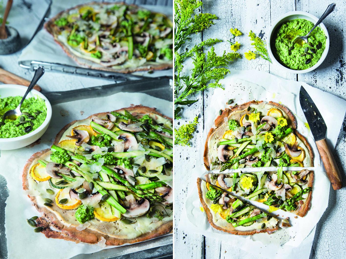 Flammkuchen mit grünem Gemüse