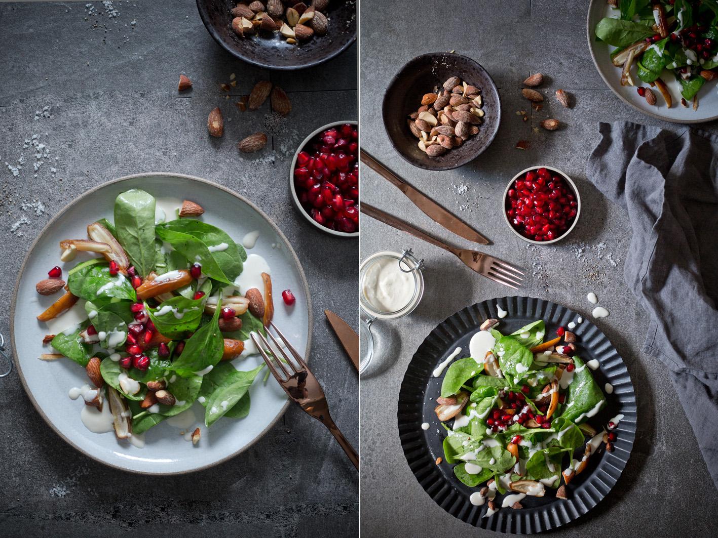 Spinatsalat mit Tahini und Datteln