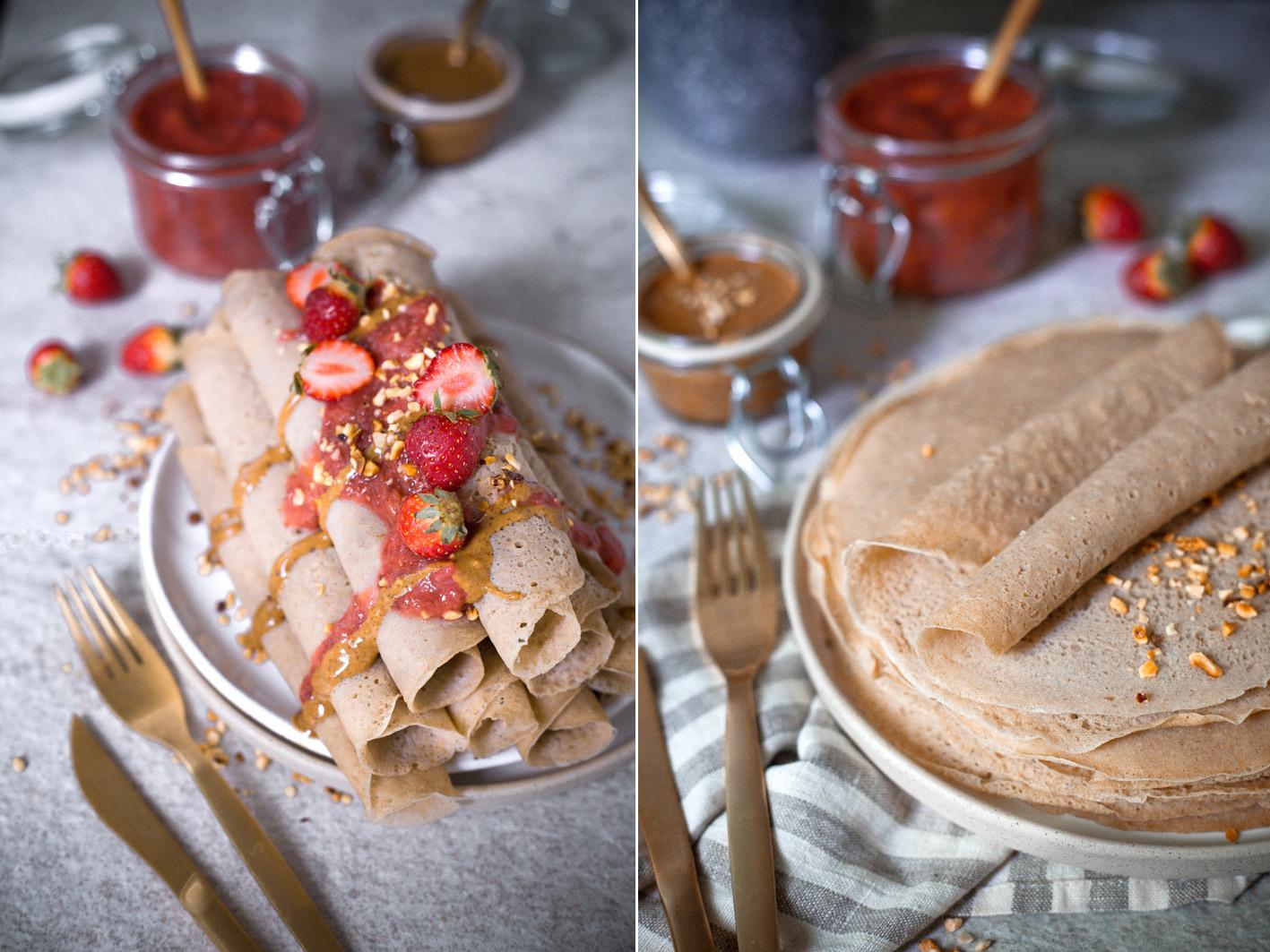 Supergesunde Pfannkuchen mit Rhabarber-Chia-Kompott