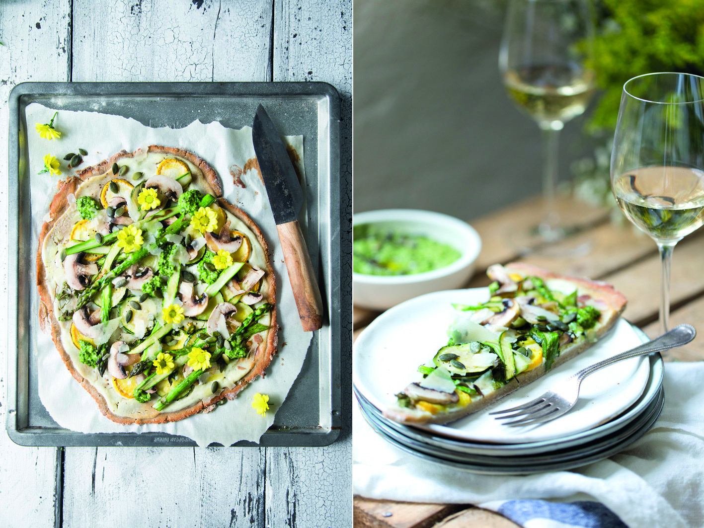 Flammkuchen mit Zucchini und grünem Spargel