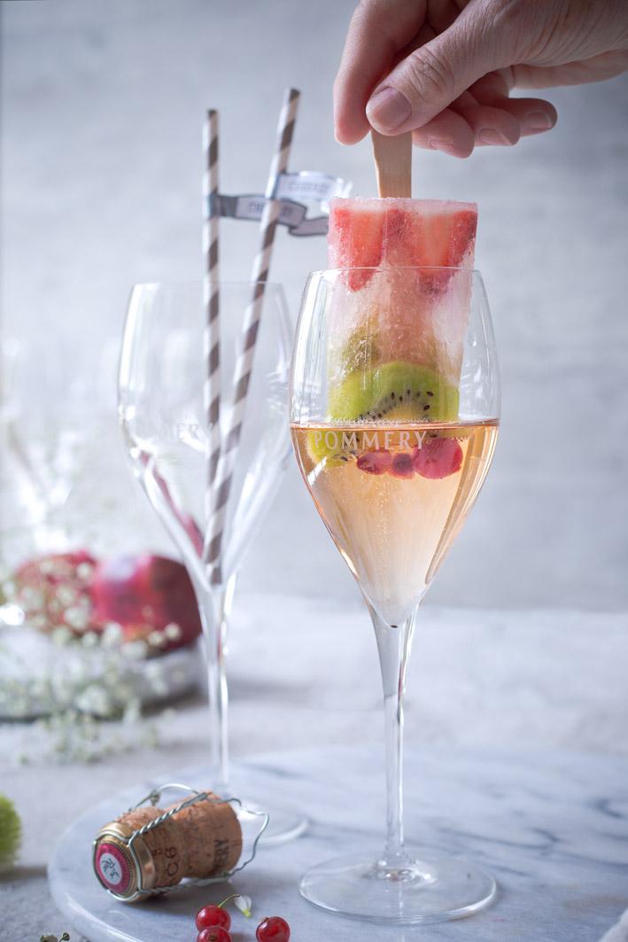 Champagner Popsicles im Glas