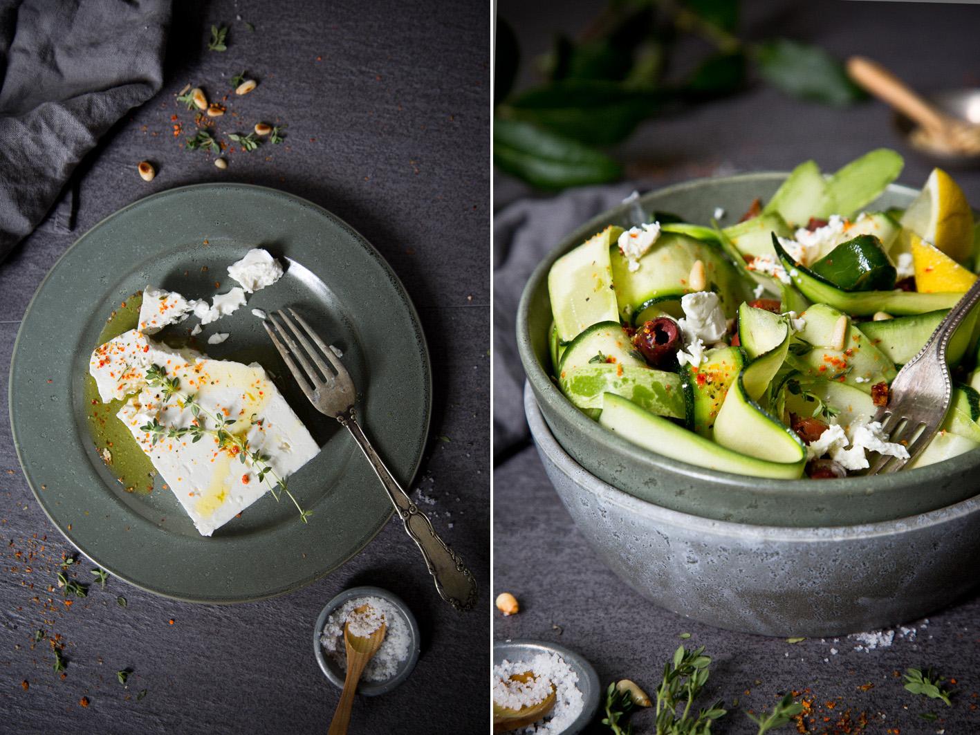 Zucchinisalat mit mariniertem Feta