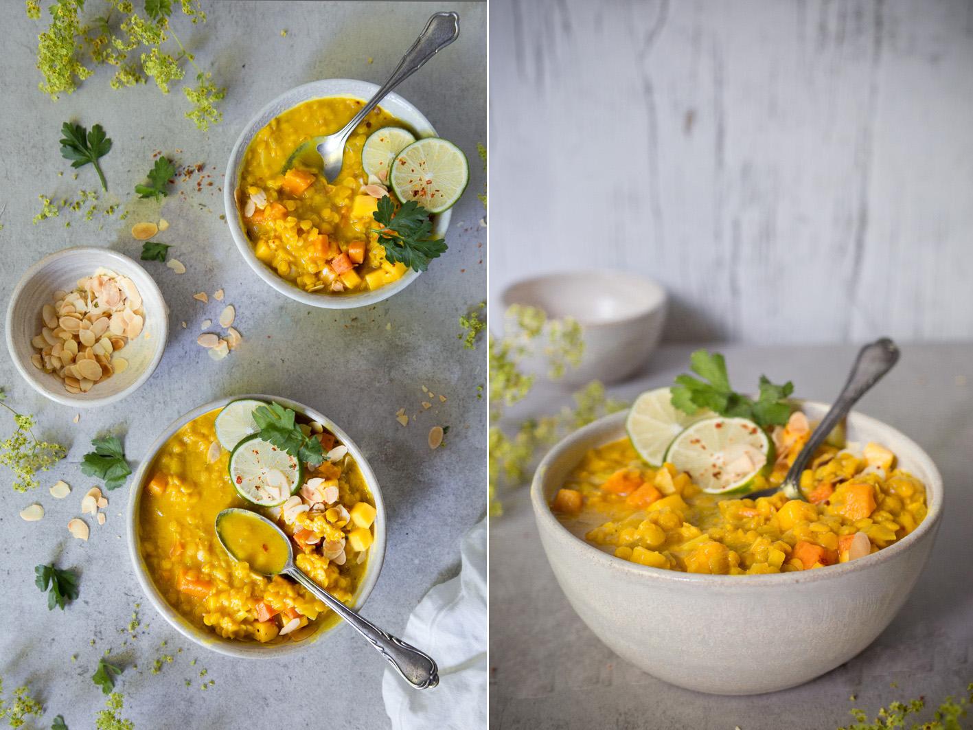 Gelbe Linsensuppe mit Mango
