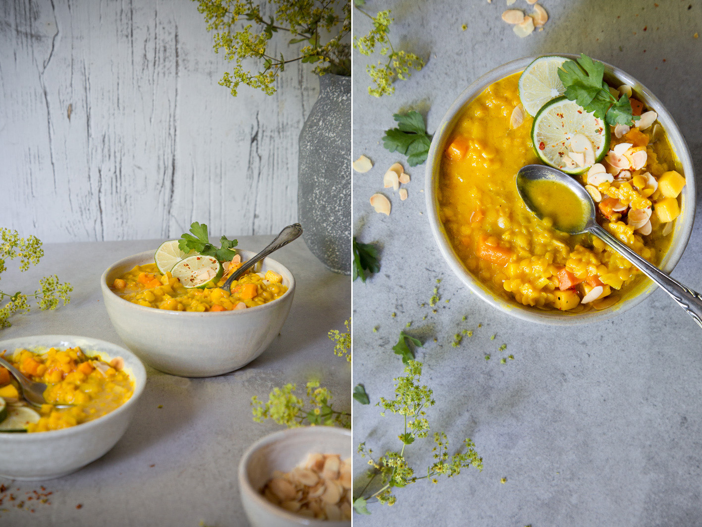 Gelbe Mango Linsensuppe mit Süßkartofeln