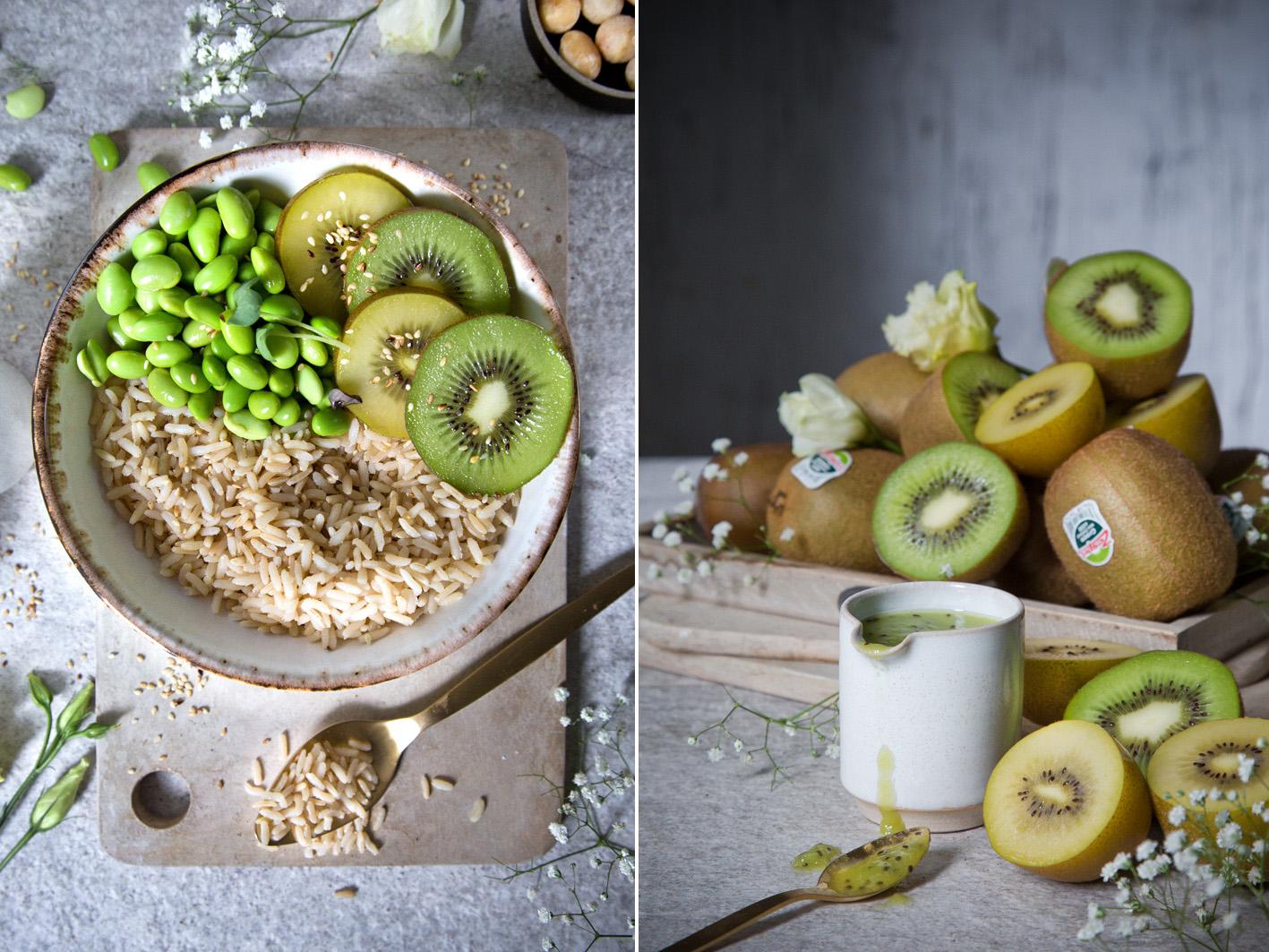 Grüne Poké Bowl mit Kiwi