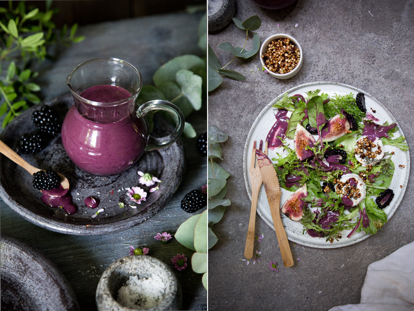 Salat mit Brombeerdressing