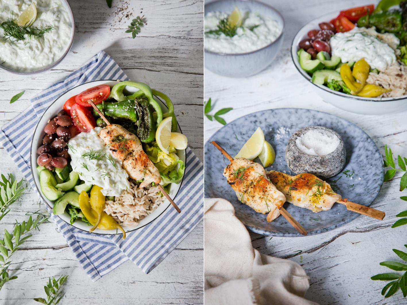 Tsatsiki Salat mit Hühnchenspieß