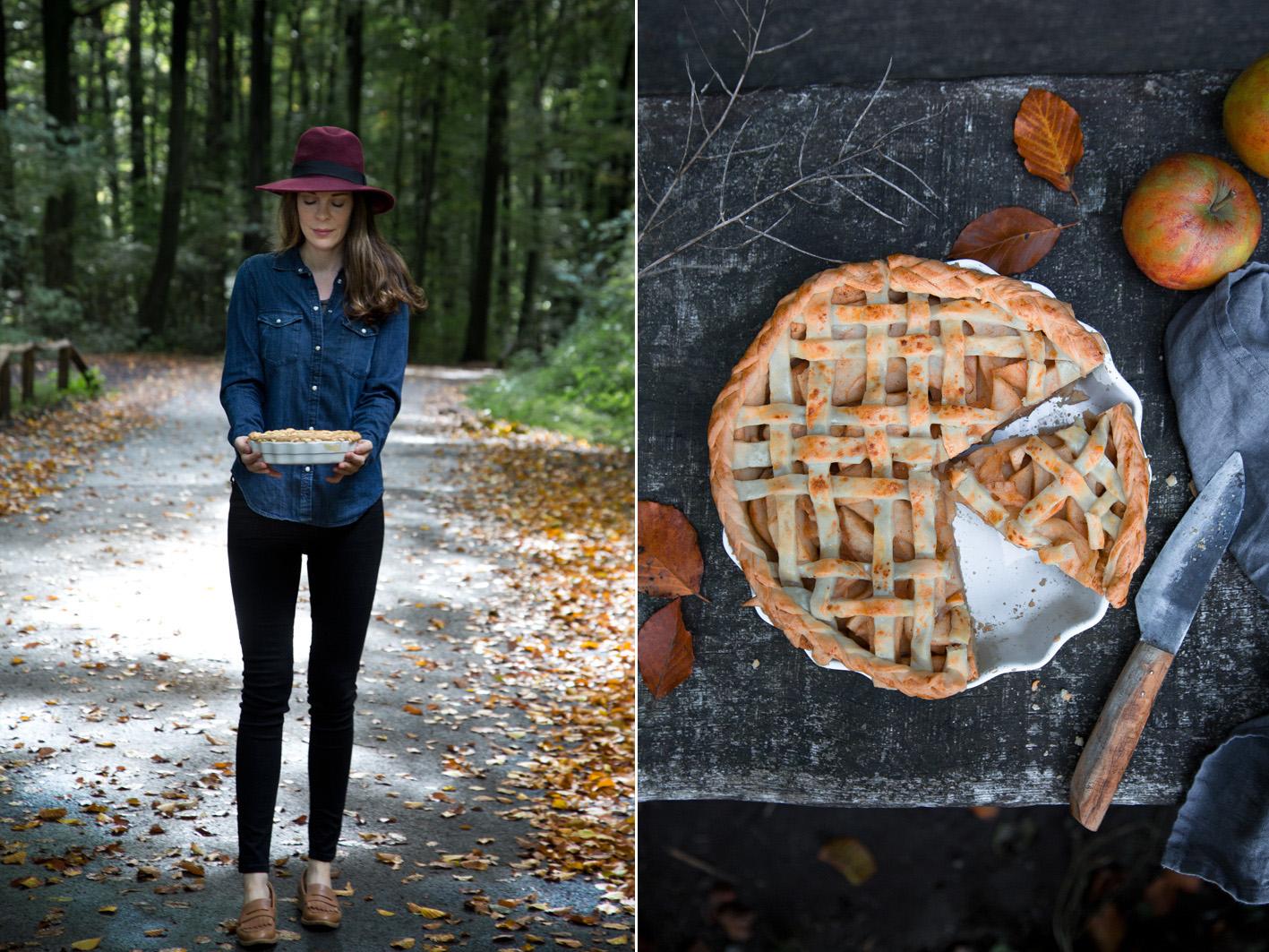 Picknick im Wald mit Apfelkuchen