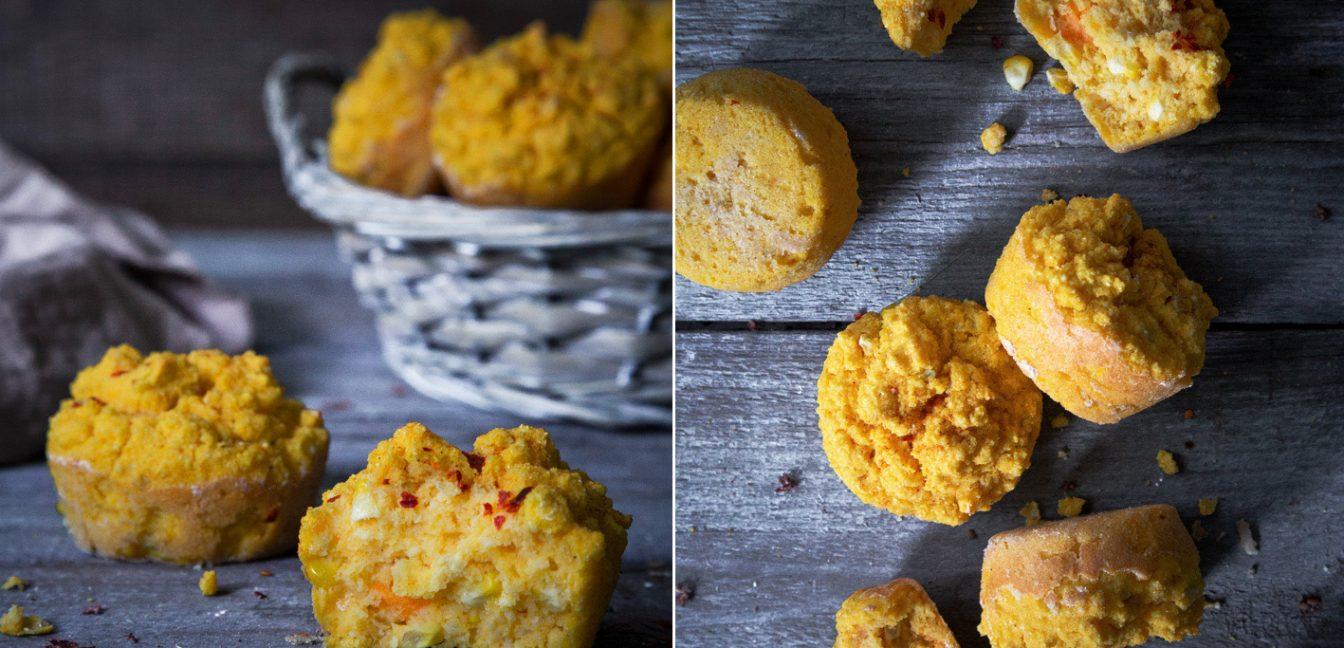 Herzhafte Süßkartoffel-Mais-Muffins mit Chili.
