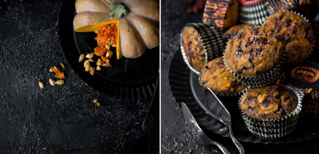 Kürbis-Muffins mit Schokolade zu Halloween.