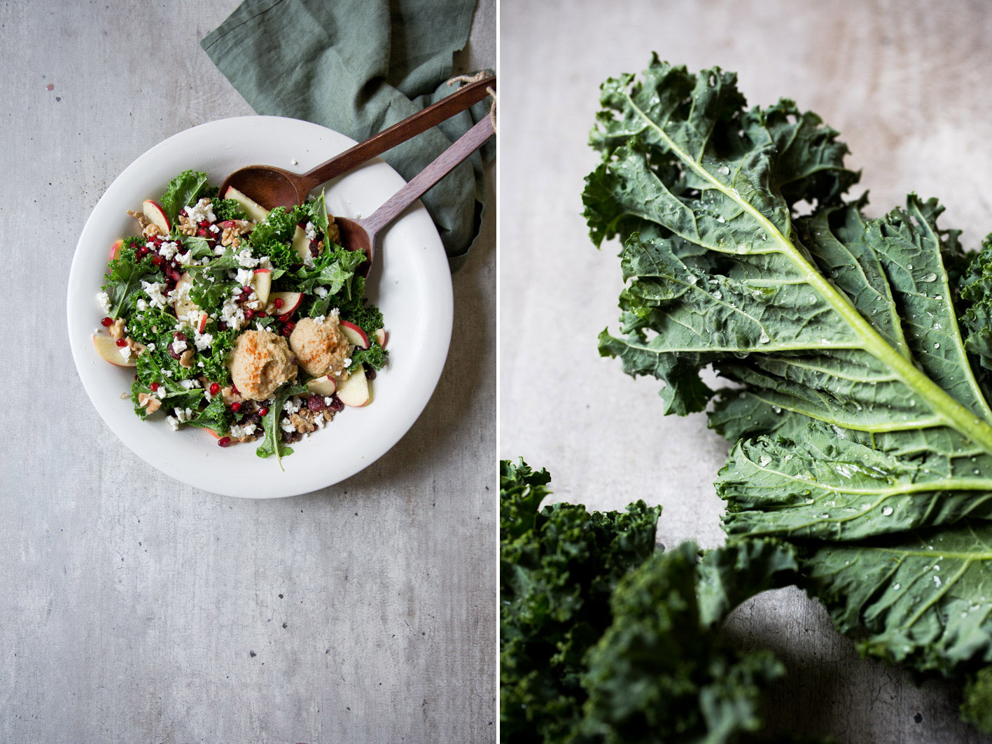 Gesunder Grünkohlsalat mit Hummus