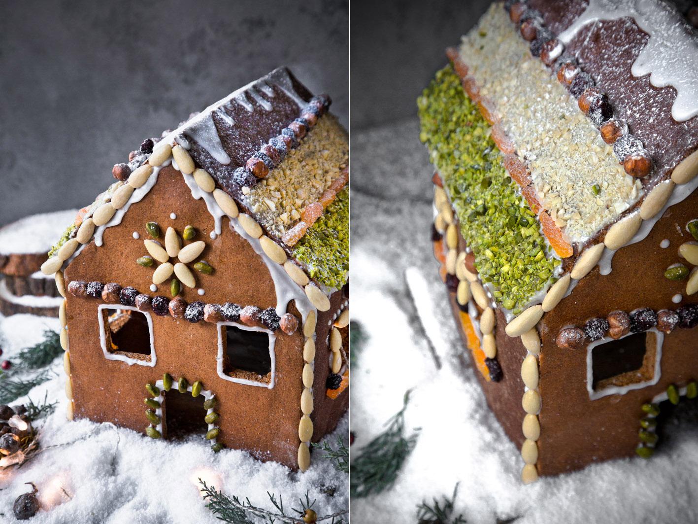 Lebkuchenhaus mit Nüssen verziert
