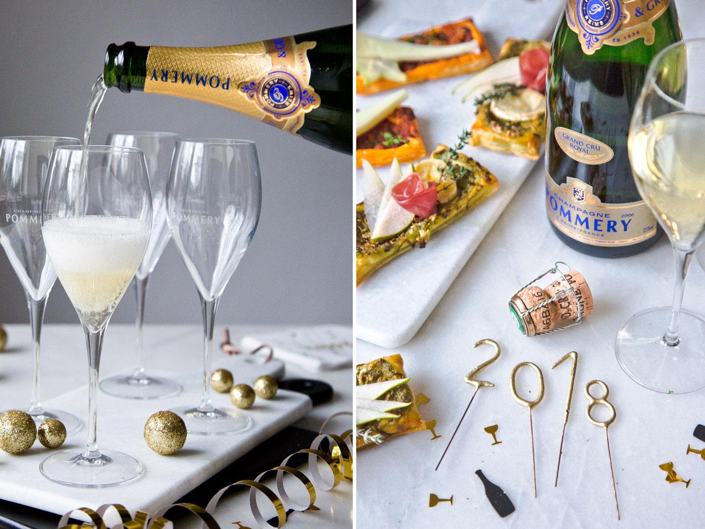 Champagner mit Blätterteigschnitten