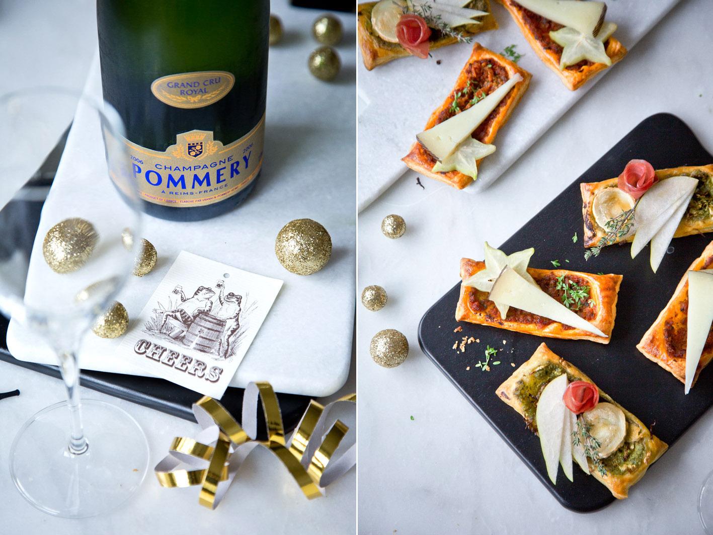 Herzhafte Blätterteigschnitten zu Champagner