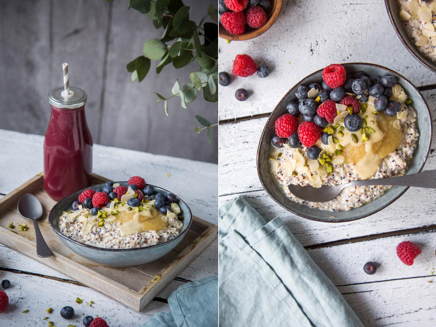 Gesundes Frühstück: Quinoa-Bowl mit Obst