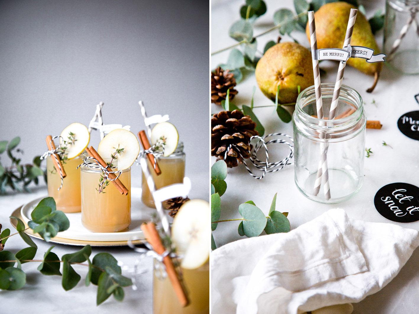 Weihnachtlicher Cocktail mit Lille Blanc, Birne und Zimt