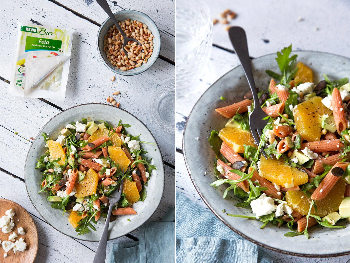Leichter Nudelsalat mit Orangen und Feta