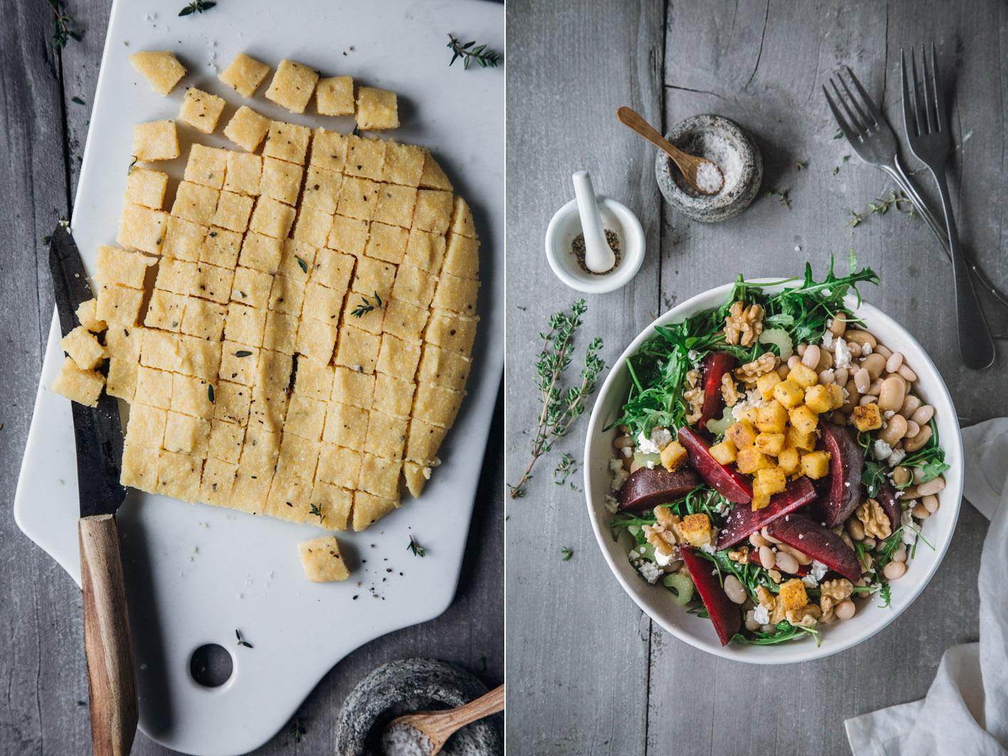 knusprige Polenta Croutons auf Salat