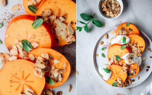 Frühstücks-Kaki mit Mandeln und Zimt. Kaki, Persimone oder Sharon?