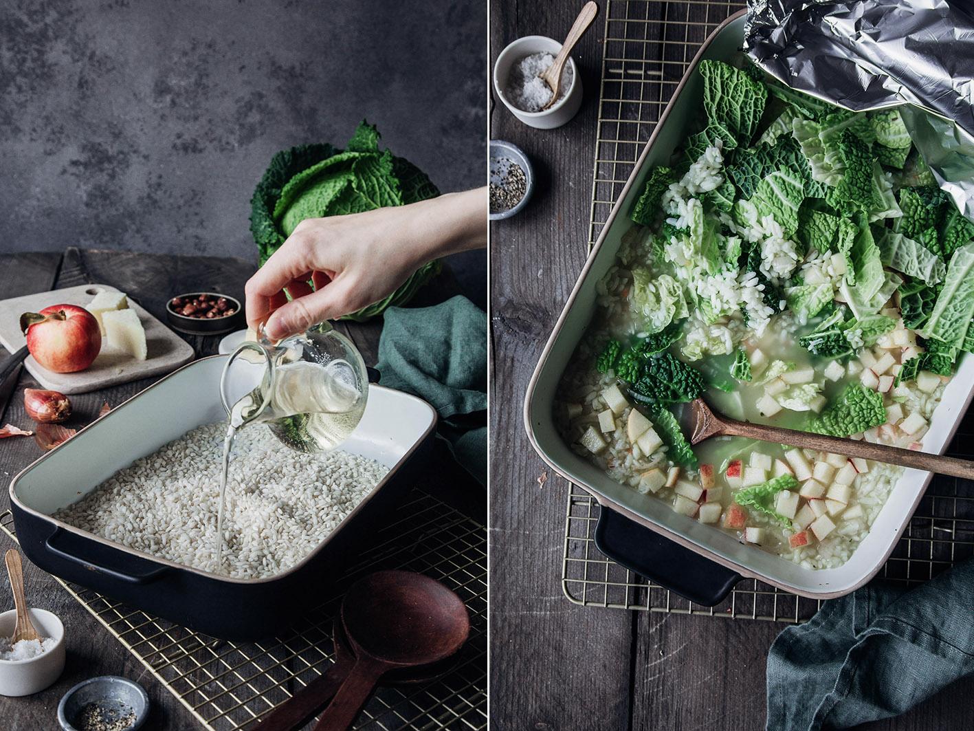 Risotto im Ofen zubereiten - Rezept für Wirsingrisotto