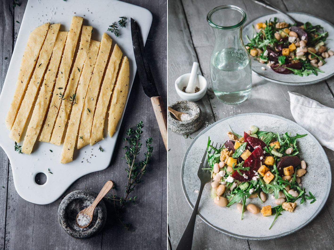 Polenta Croutons für Salat