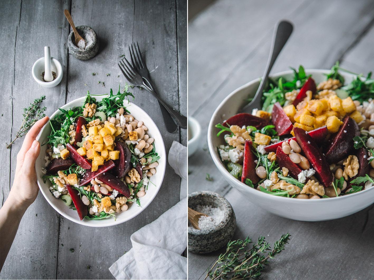 Rote Bete Salat mit weißen Bohnen