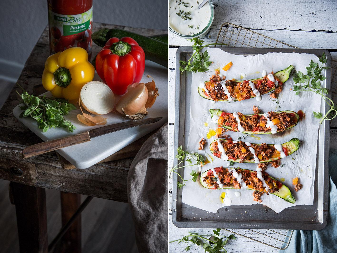 Rezept für gefüllte Zucchini aus dem Ofen