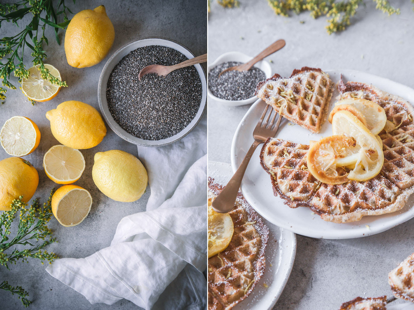 Fluffige Chia-Zitronen-Waffeln