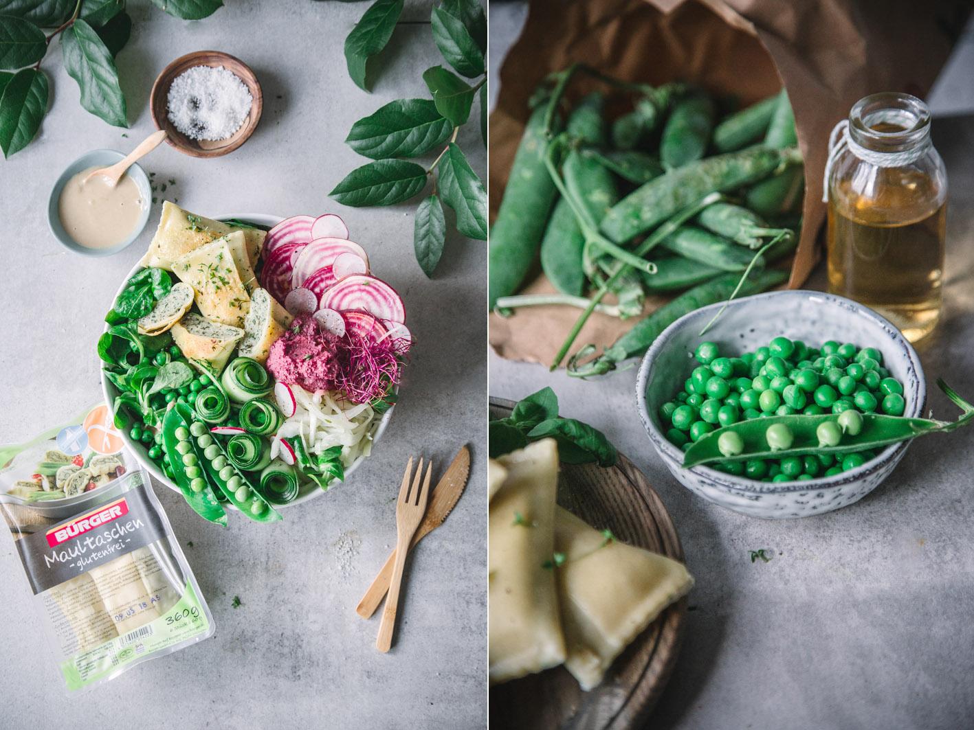 Frühlings-Salat mit Maultaschen