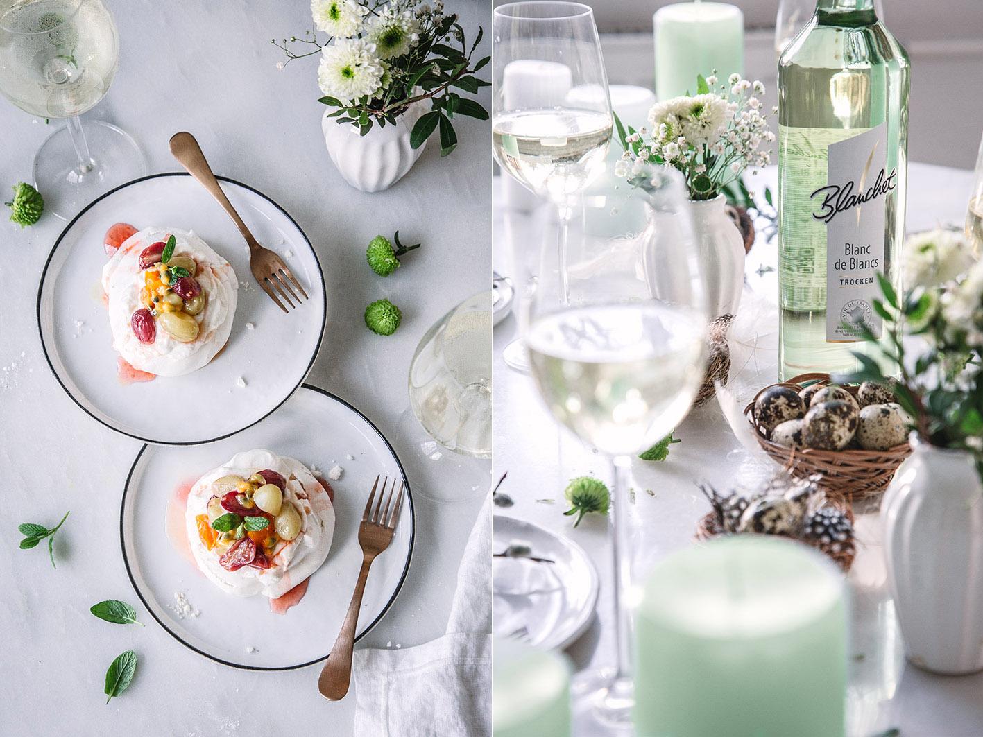 Kleine Pavlova mit Weißwein
