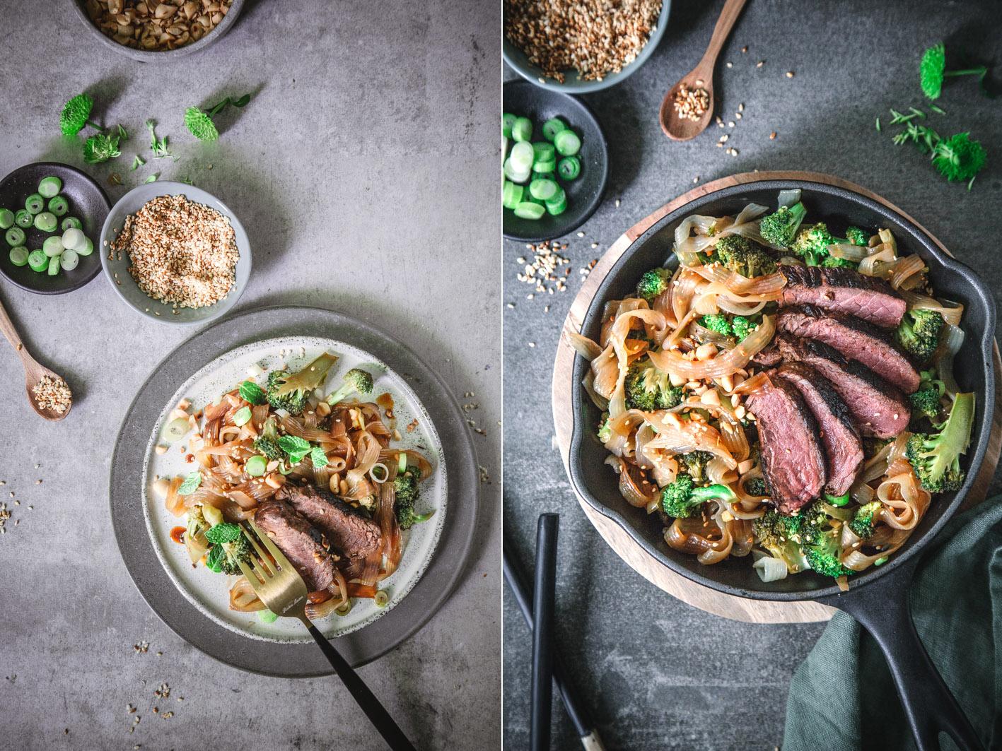 Low Carb Rezept für Nudeln mit Brokkoli und Rindfleisch