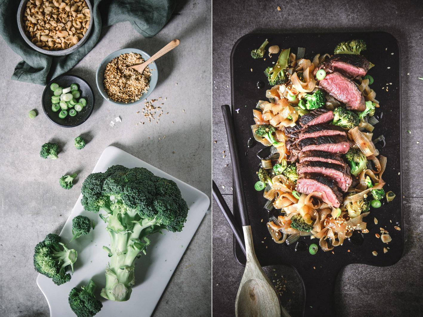 Lowcarb Pasta mit Brokkoli und Rindfleisch