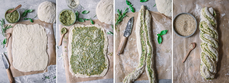 Anleitung Brotzopf mit Pesto