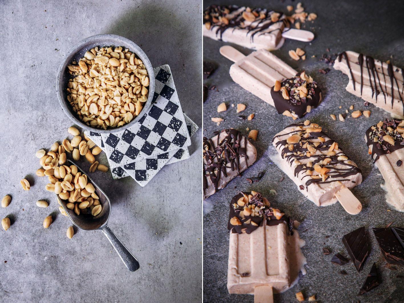 Erdnuss-Popsicles mit Schokolade