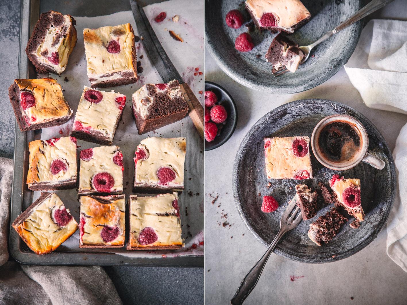 Raspberry-Cheesecake-Brownies aus gesunden Zutaten