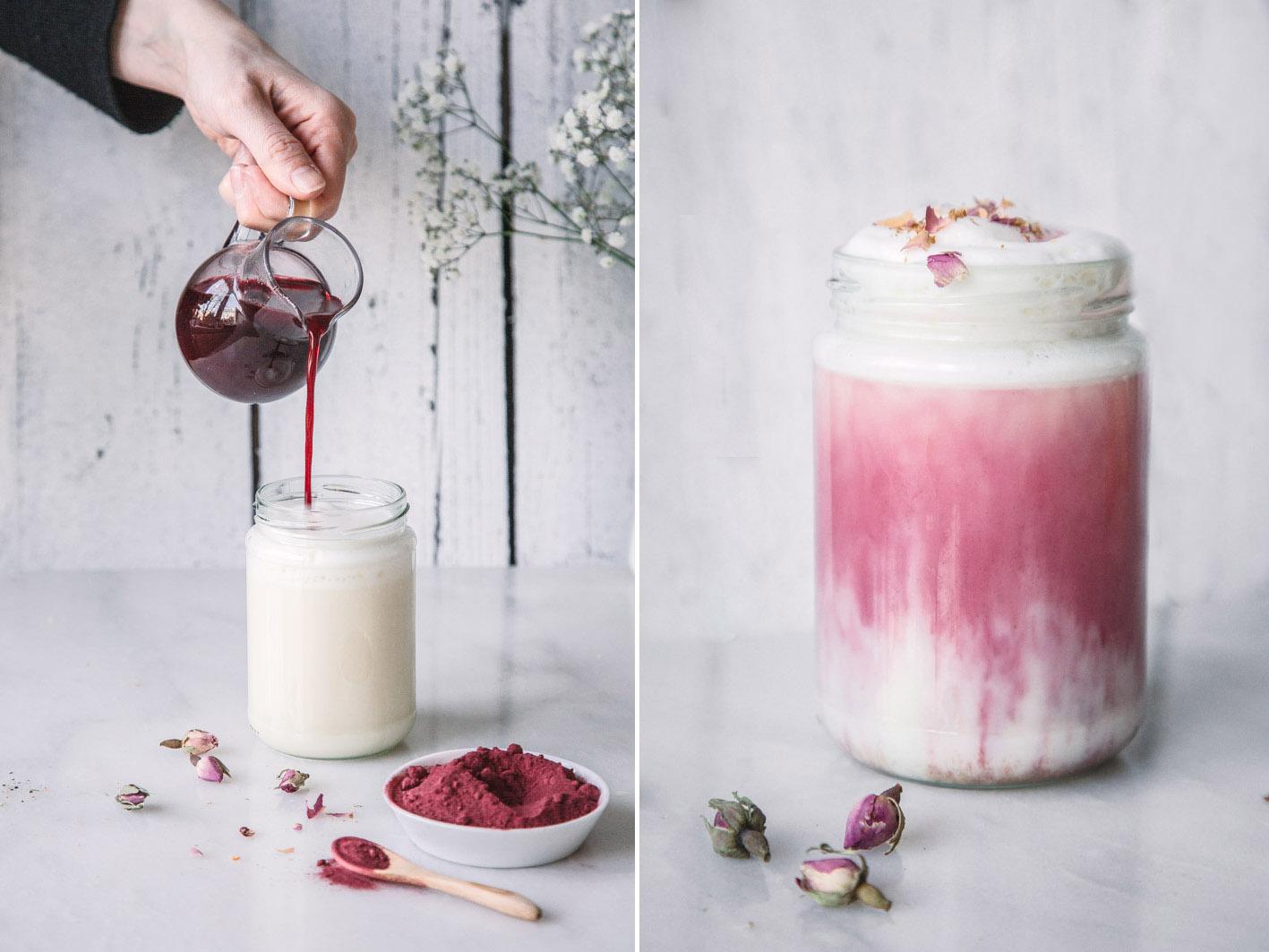 Rote Bete Latte mit Mandelmilch