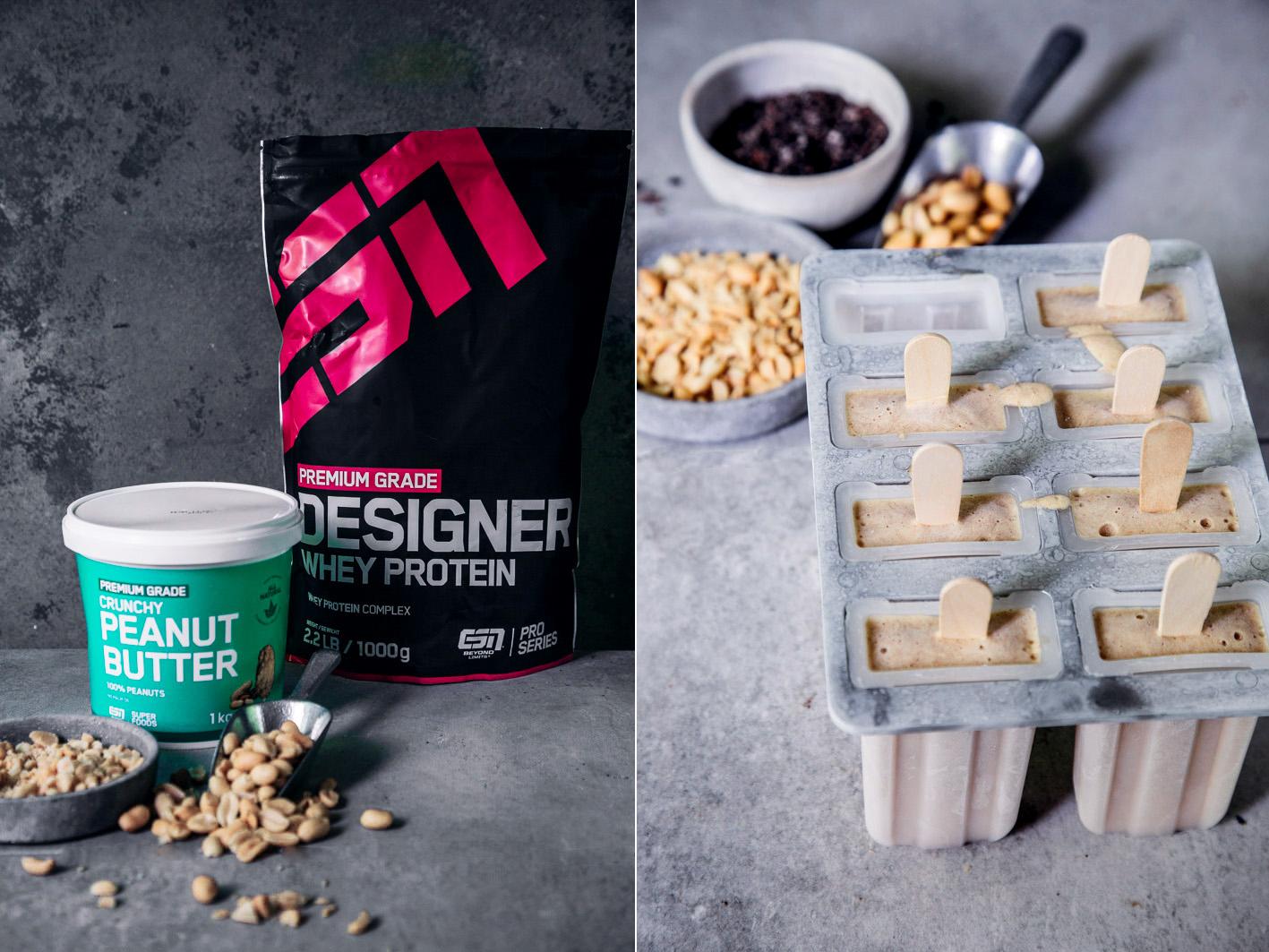 Peanutbutter Protein Popsicles mit Erdnussbutter