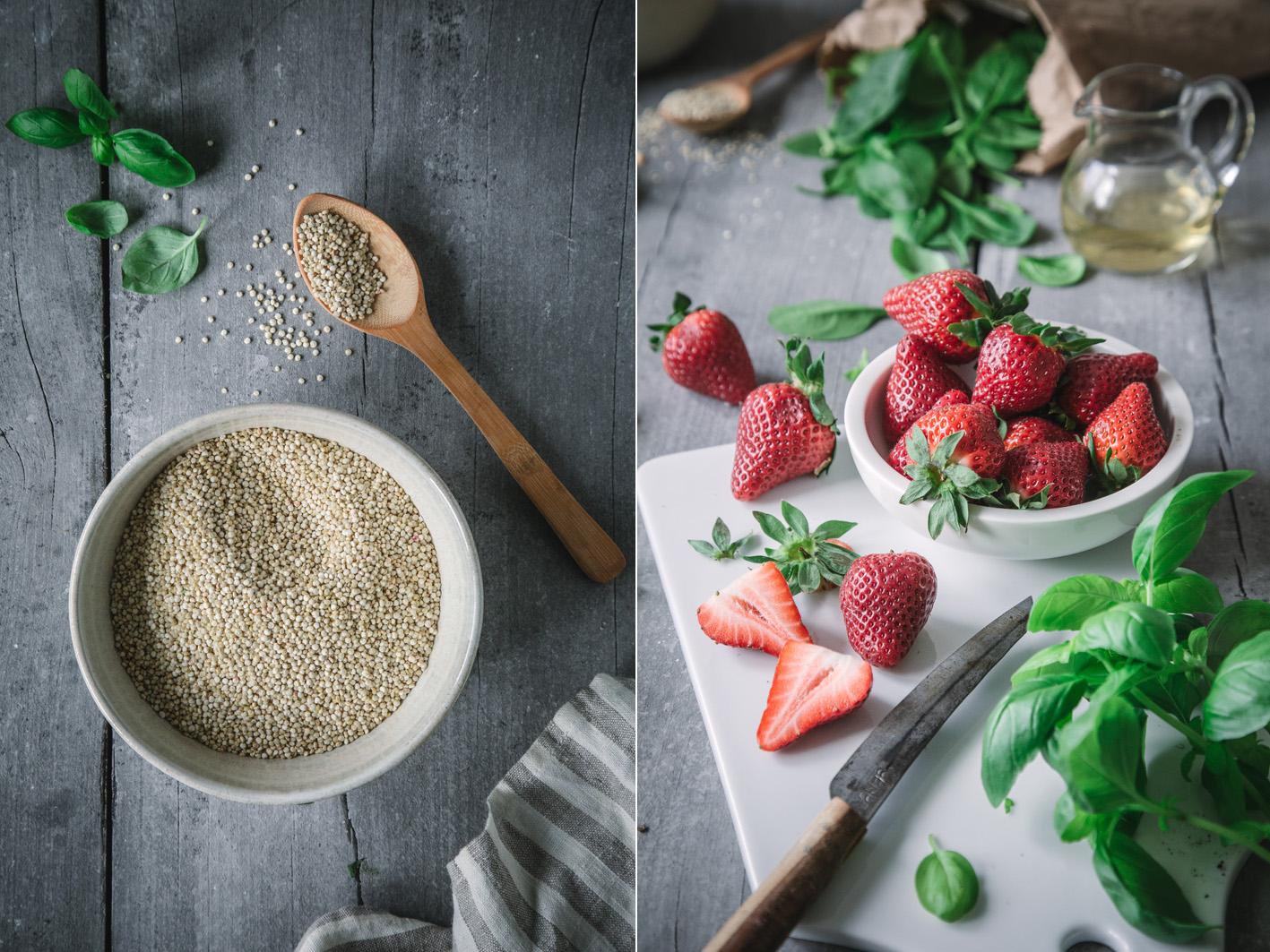 Zutaten für Quinoa-Erdbeersalat