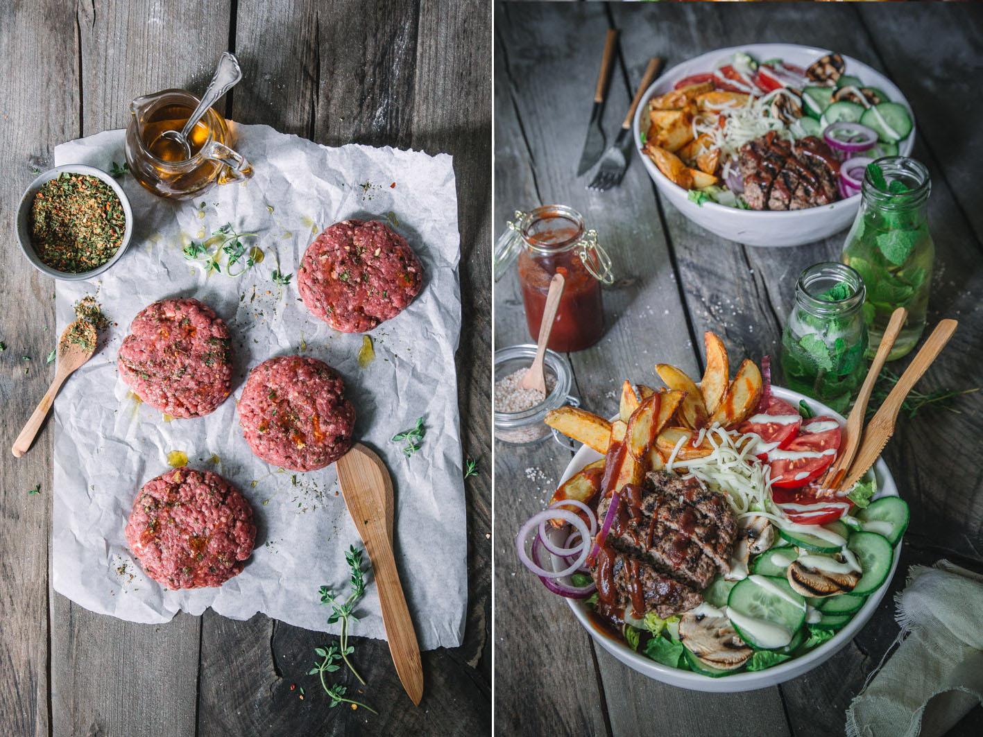 Burger Bowl mit BBQ Gewürzen