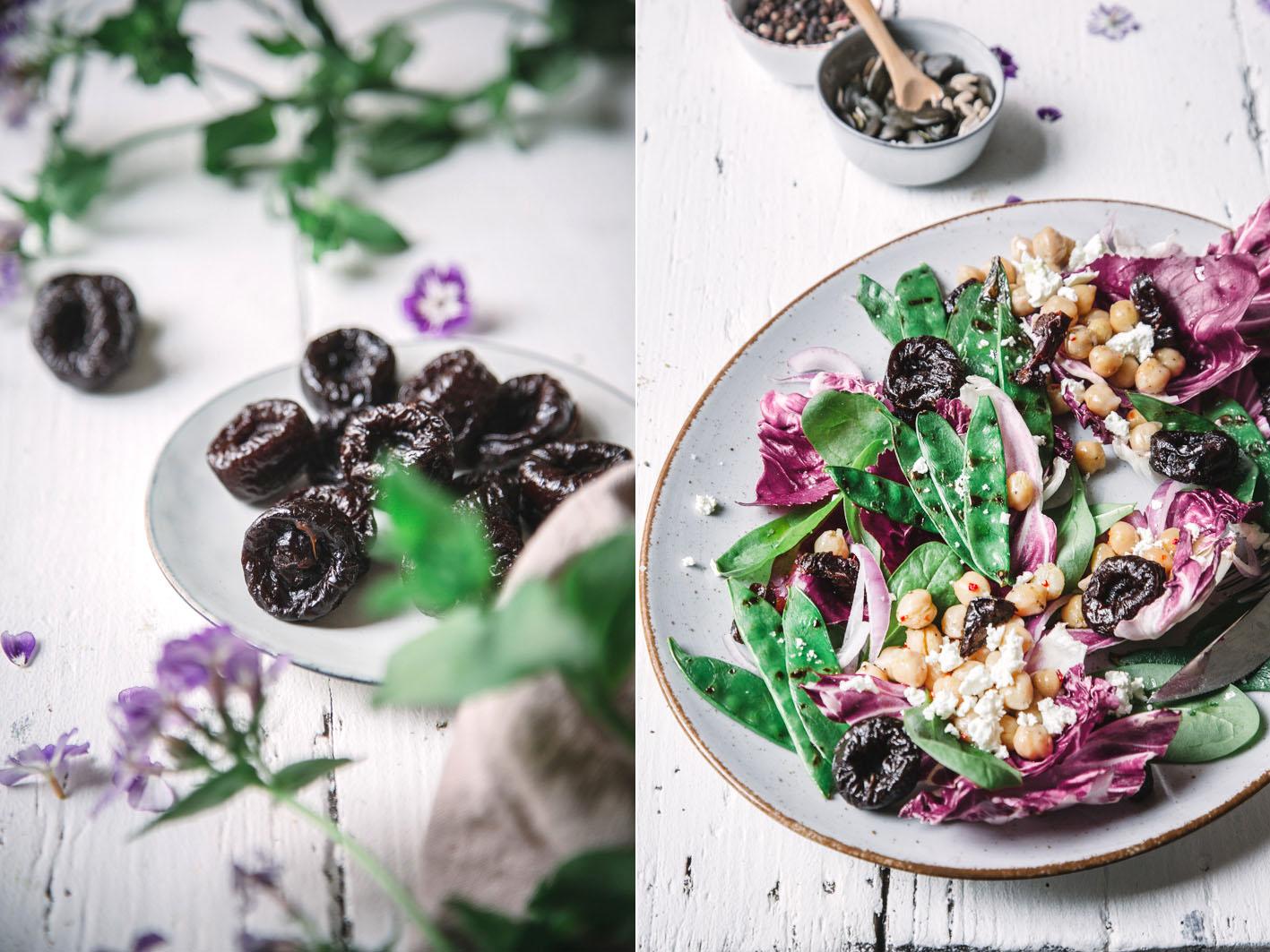 Grillsalat mit Kichererbsen und Zuckerschoten
