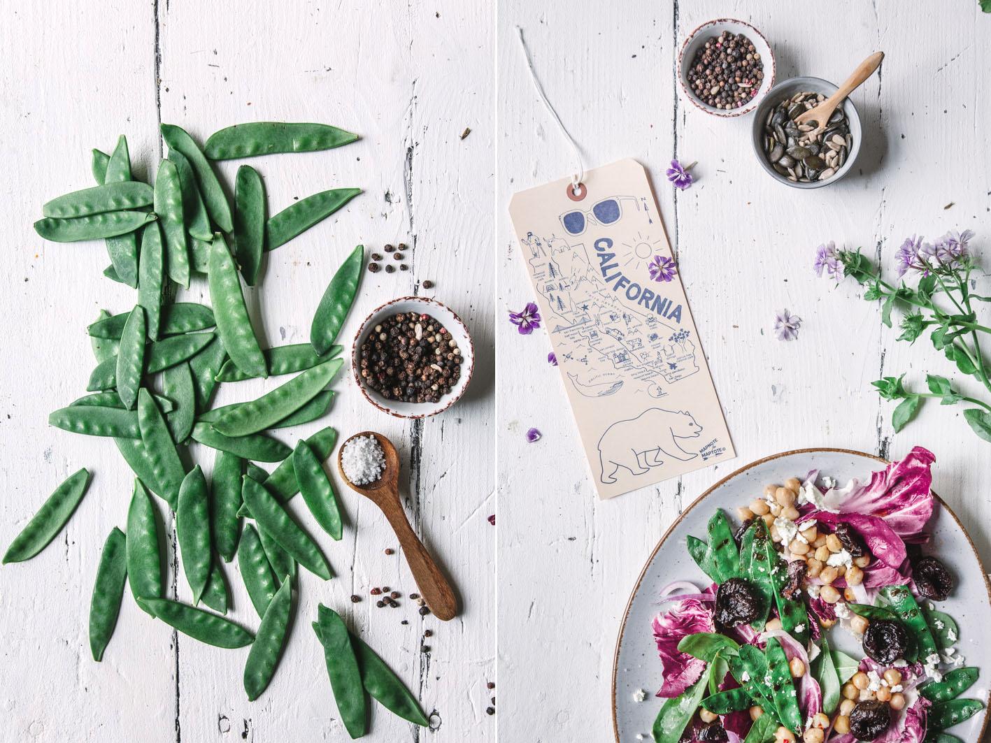 Salat mit gegrillten Zuckerschoten