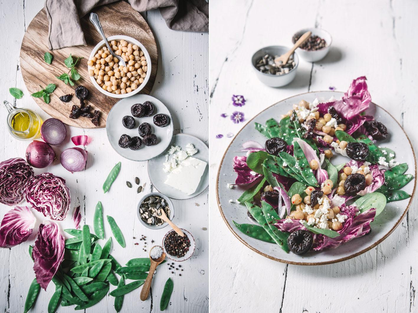 Salat mit getrockneten Pflaumen und Zuckerschoten