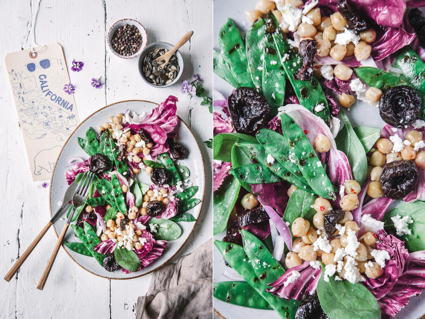 Salat mit Zuckerschoten, Kochererbsen und Feta