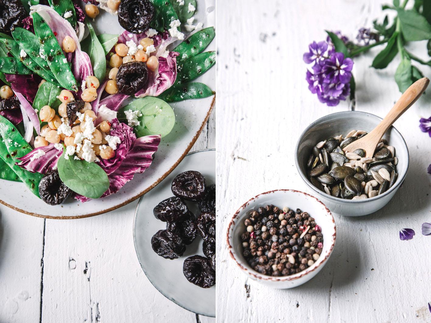 Salat mit Zuckerschoten und Trockenpflaumen