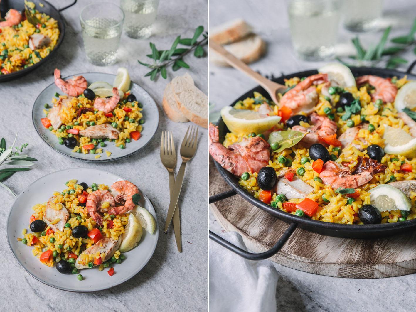Bunte Paella mit Hühnchen