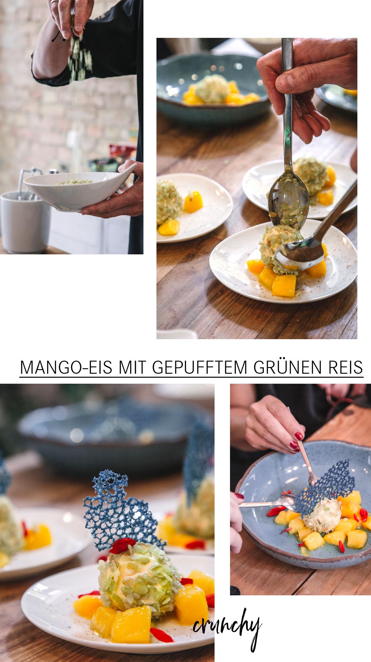 Mango-Eis mit gepufftem grünen Reis