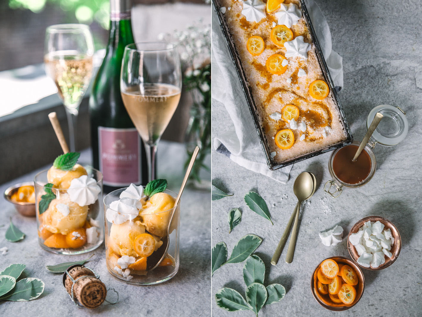 Orangensorbet mit Champagner