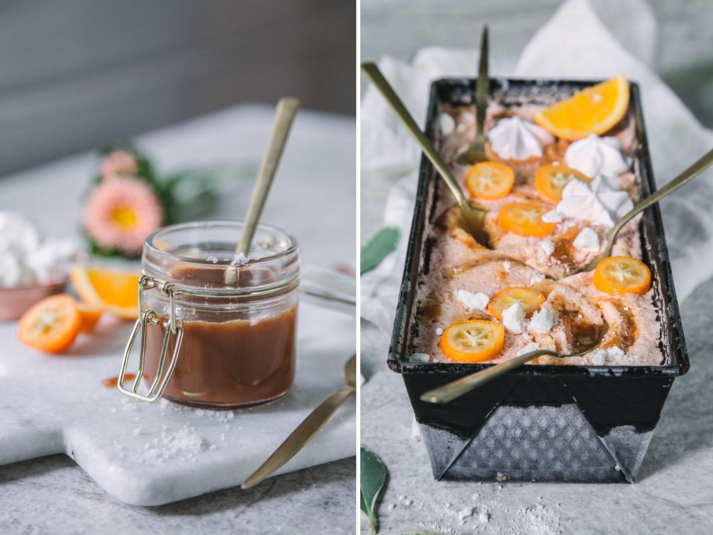 Orangensorbet mit gesalzenem Karamell